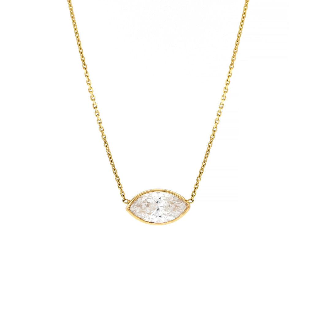 pendant headview necklace marquise set bezel gold whitegold white diamond
