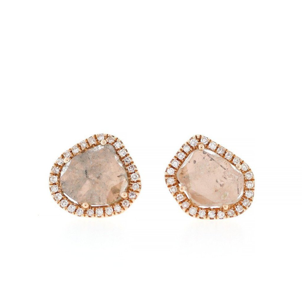 Diamond Slice with Pave Stud Earrings