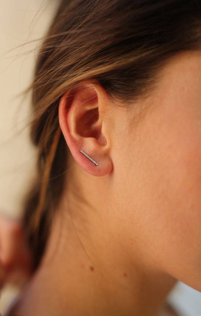 Diamond Line Ear Climber-White Rhodium