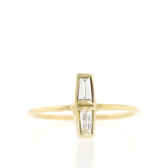 Double Baguette Diamond Ring - Vertical