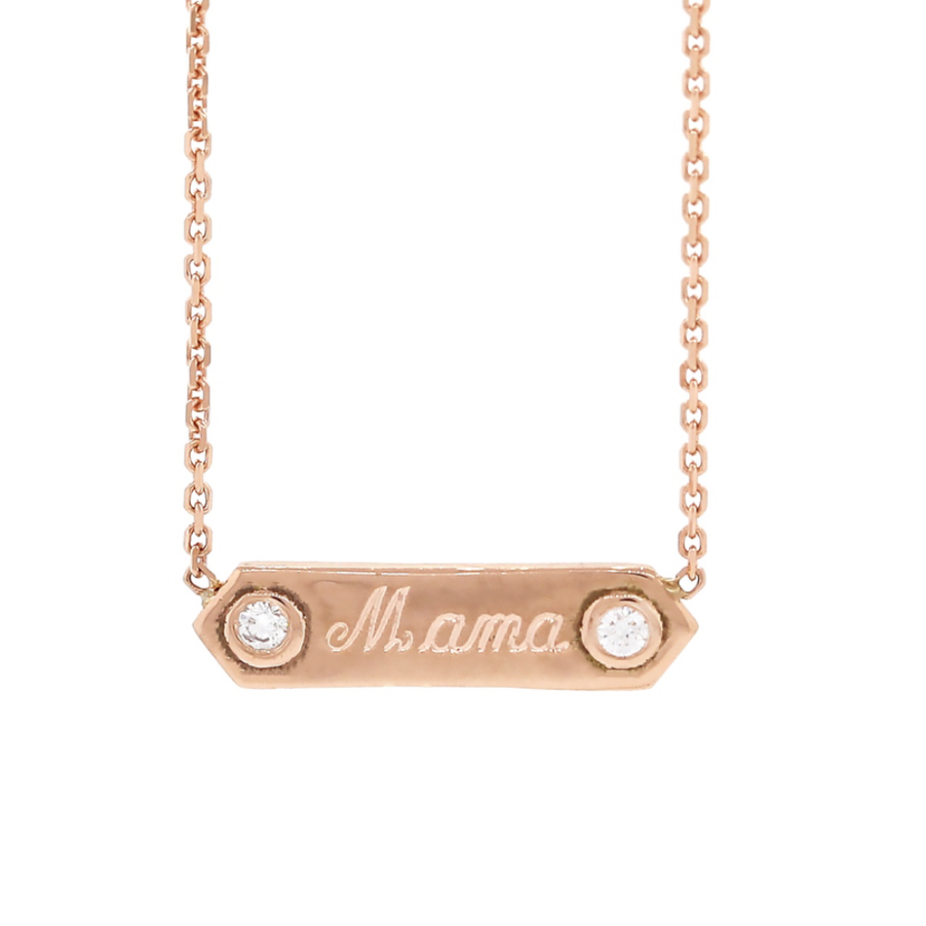 Custom Petite Plaque Necklace with Diamonds