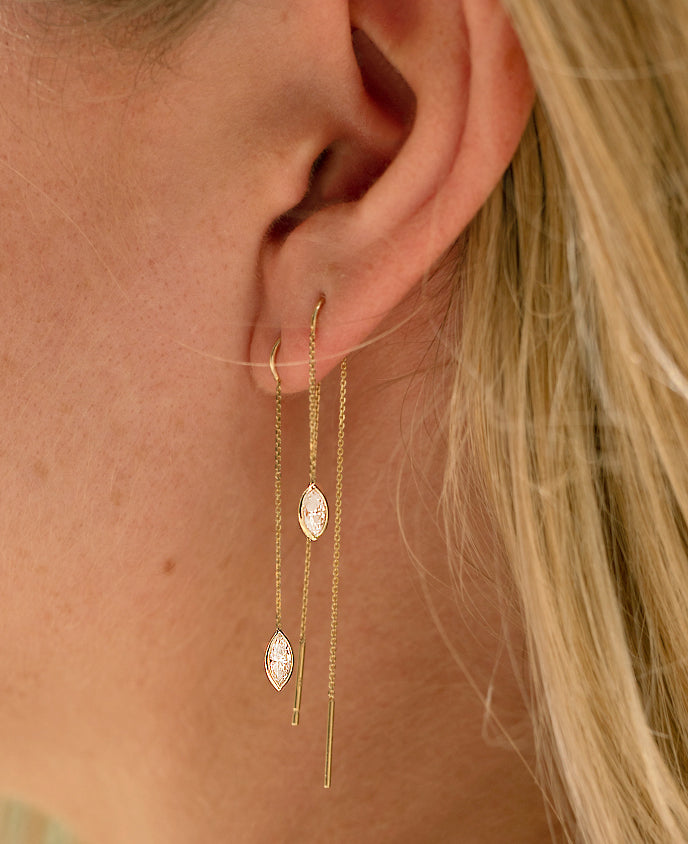 Marquise Linear Long Drop Earring