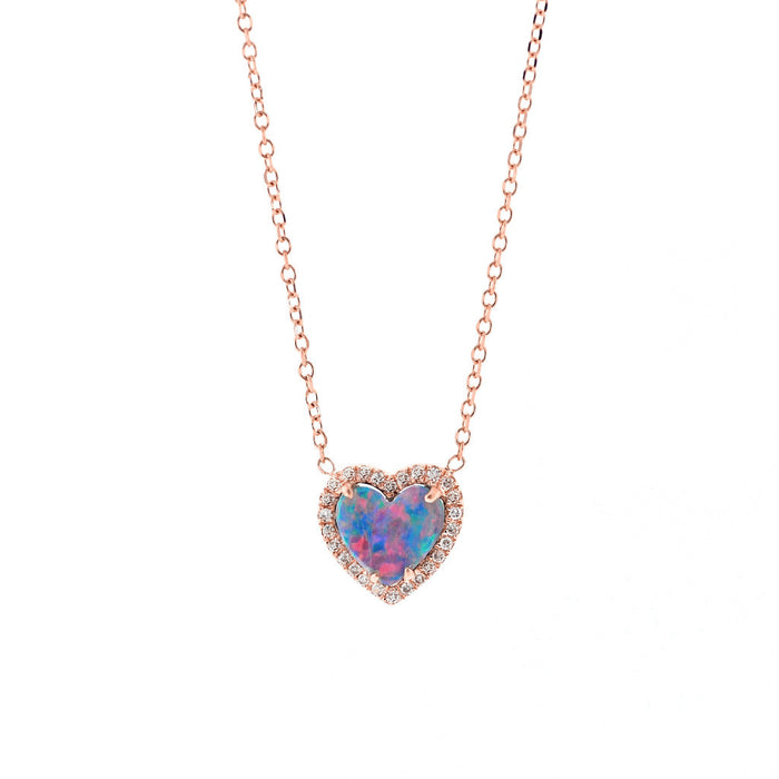 Opal Heart with Pave Diamond Necklace