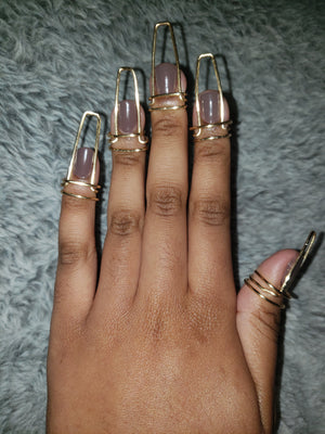 Nail ring set in Halo Style, Gold, 16 Gauge , Long, Ballerina