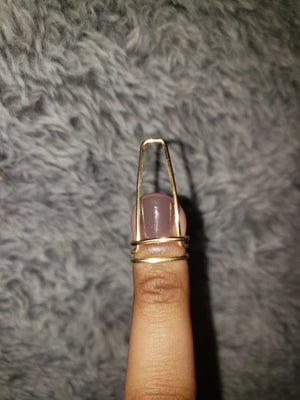 Single nail ring in Halo Style, Gold, 16 Gauge , Long, Ballerina