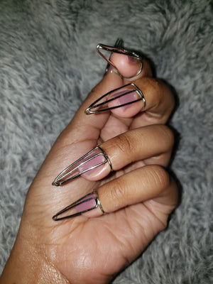 Nail ring set in Arrow Style, Silver, 18 Gauge , Long, Stiletto