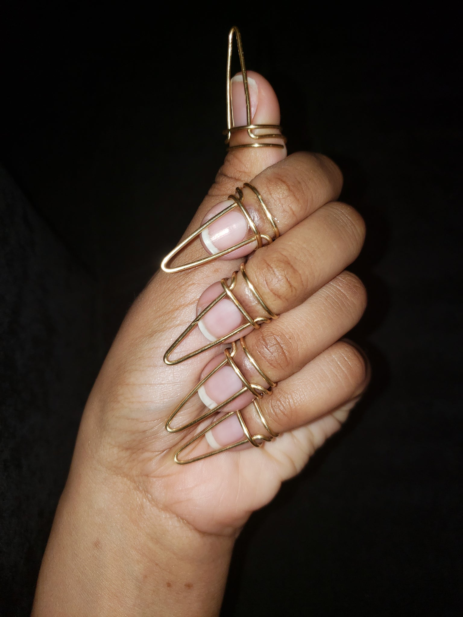 Nail ring set in Halo Style, Gold, 16 Gauge , Long, Stiletto