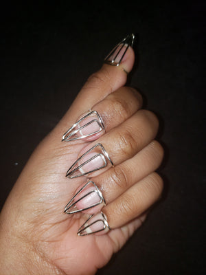 Nail ring set in Arrow Style, Silver, 18 Gauge , Short, Stiletto