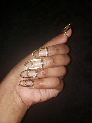 Nail ring set in Infinity Style, Gold, 16 Gauge , Medium, Oval