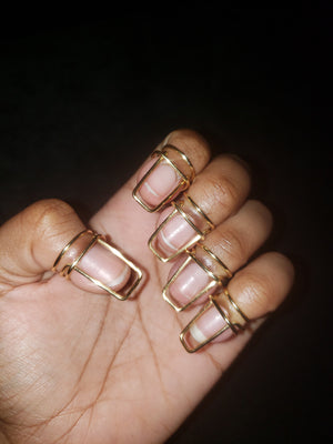 Nail ring set in Halo Style, Gold, 16 Gauge , Short, Square