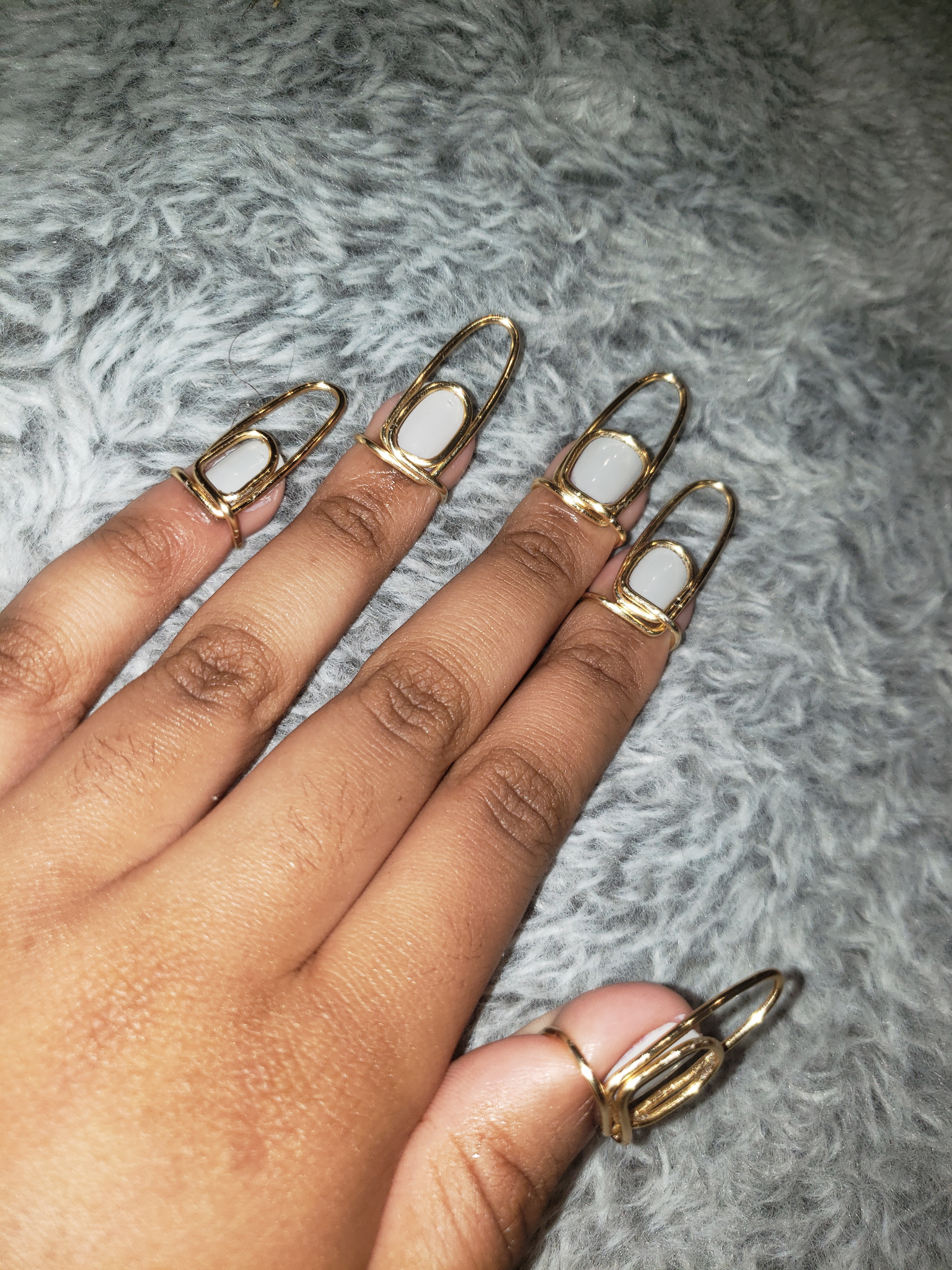 Nail ring set in Infinity Style, Gold, 16 Gauge , Long, Oval