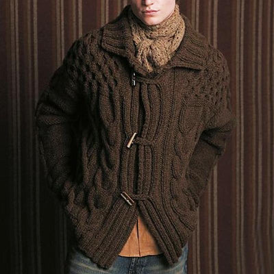 Casual fold-over collar solid color single-breasted men's knit sweater
