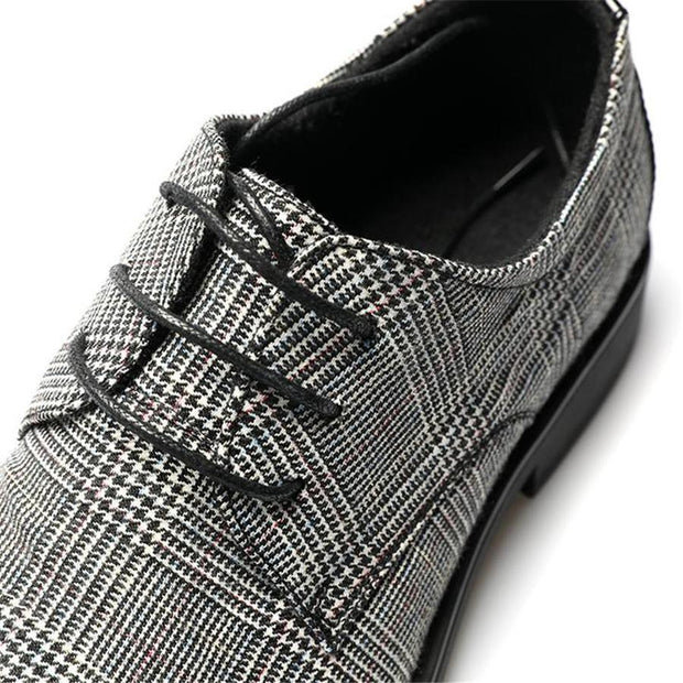 Retro Genuine Leather Pointed  Plaid Lace Up Shoes