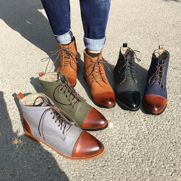Coloured Men's Lace Up Pointed Boots