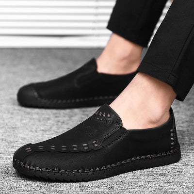Vintage Plain Split Joint Business Flat Loafer Shoes