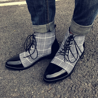 Men's Vintage Plaid Pointed Booties