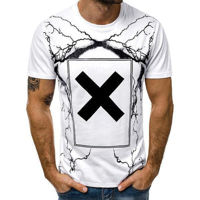 Men's Fashion Lightning Print Short Sleeve T-Shirt