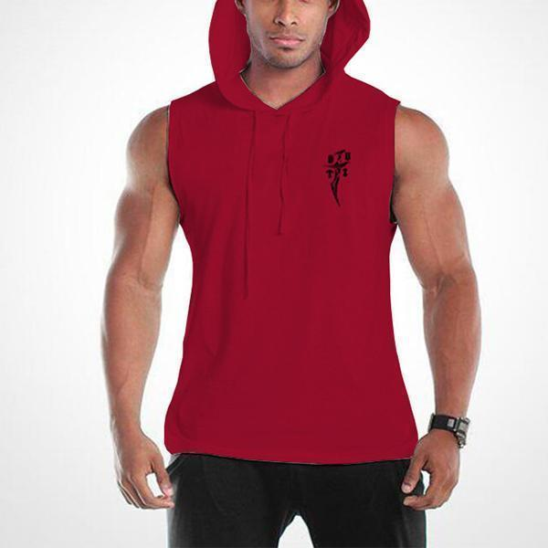 Fitness Fashion Dagger Print Hooded Tank