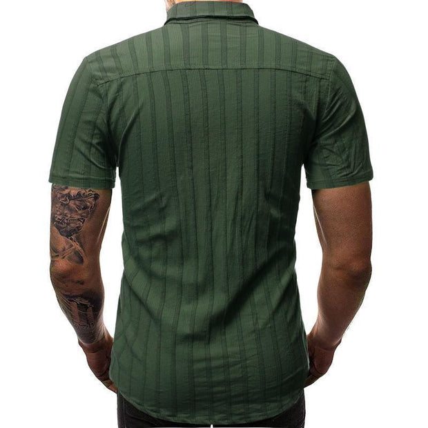 Men's Striped 3D Slim Short   Sleeve Shirt