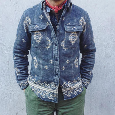 Autumn And Winter Lapel Print Jacket
