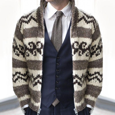 Casual Stand Collar Printed Colour Men's Cardigan