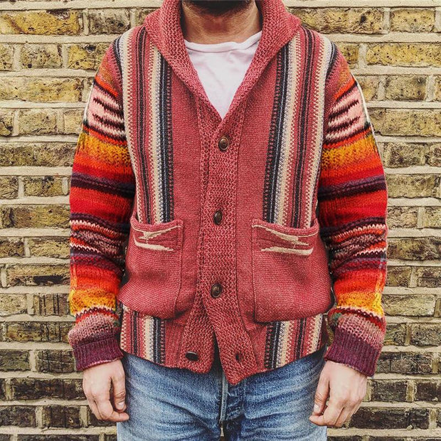 Vintage Casual Rainbow Striped Knit Cardigan