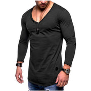 Hot sale explosions 2018 New Summer men's solid color V-neck long-sleeved cotton casual bottoming T-shirt