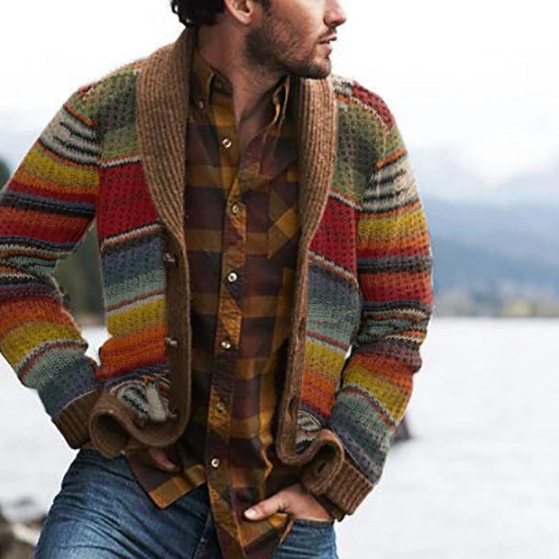 Vintage Casual Rainbow Pattern Knit Cardigan