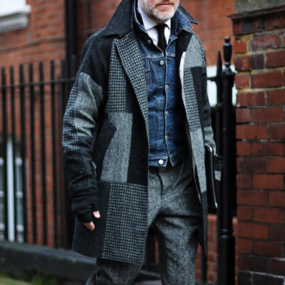 Vintage Splicing Check Mid-Length Coat