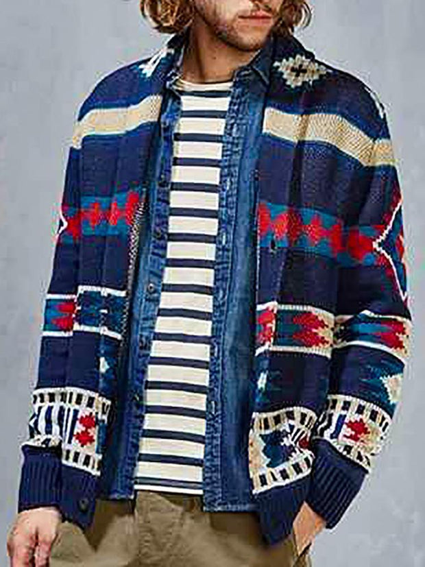 Men's casual color matching knit cardigan