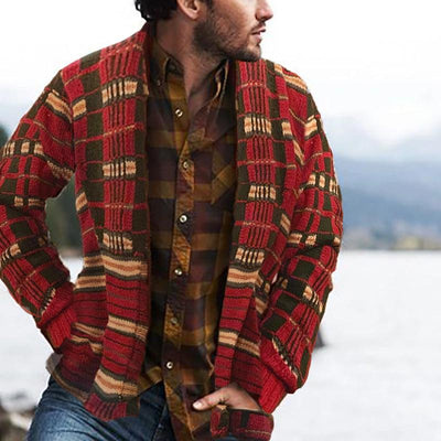Vintage Casual Plaid Printed Lapels Sweater Cardigan