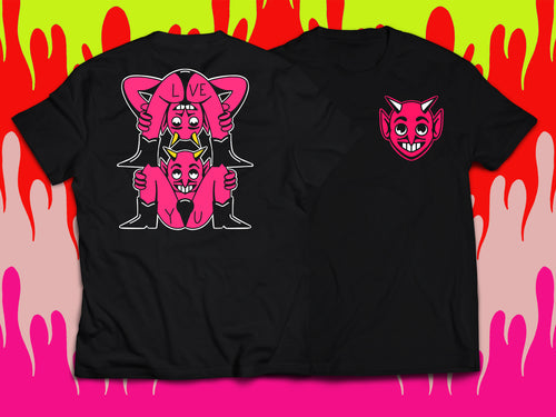 Hot Pink Devils on black t-shirt