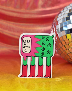 Vinyl sticker of a 4-legged creature wearing a seafoam green bodysuit with hot pink boots on all 4 feet. 7 black swirls and a small triangular tail are located on Booty's rear-end, while a pink, jagged-edge mane engulf's booty's neck-less head. Booty's facial features include closed eyes, a sharp nose, a slightly frowning mouth, and a round chin. Booty gets their name from their hot pink boots!
