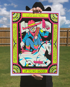 Up To No Good flock poster designed by Crocodile Jackson and produced by Cat Palace.