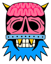 Cargar imagen en el visor de la galería, Vinyl sticker of DomeHead, featuring half their face a pink skull and exposed brain encapsulated in a clear dome that is secured with a metal band above the lip, and the other half a blue-bearded, teeth clenched face with 2 gold k-9 teeth. Eye sockets and nasal opening of skull half are hollow. Yellow horns protrude from the top of the dome.