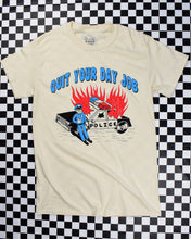 Charger l'image dans la galerie, Flaming cop car on natural short-sleeve t-shirt that reads Quit Your Day Job designed by Crocodile Jackson.