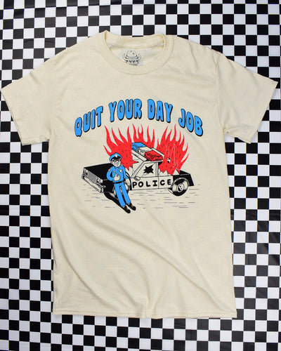 Flaming cop car on natural short-sleeve t-shirt that reads Quit Your Day Job designed by Crocodile Jackson.