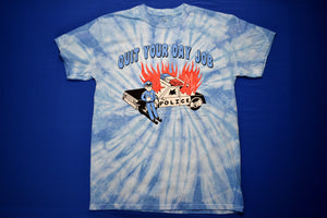 Flaming cop car on blue tie-dyed short-sleeve t-shirt that reads Quit Your Day Job designed by Crocodile Jackson.