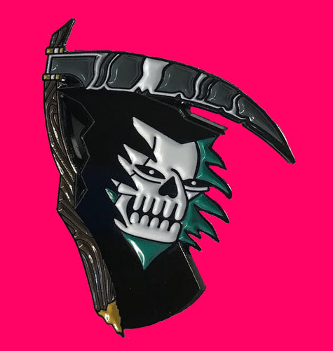 Reaper skull enamel pin designed by Crocodile Jackson.