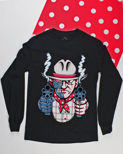 Long sleeve back t-shirt with a cowboy bust holding up 2 smoking pistols straight on. The left half of the cowboy is robot and the right half is human. He is wearing a white western hat with a hot pink hat band, a white, blue & pink plaid shirt and a hot pink bandana with white polka dots tied around his neck.