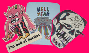 3 Holograph Sticker Pack - I'm Bad at Parties, Hell Yeah and Bone Head lowbrow artwork from Crocodile Jackson.