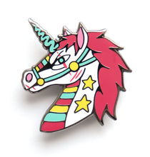 Load image into Gallery viewer, Unicorn enamel pin with hot pink mane, rainbow and stars designed by Crocodile Jackson.