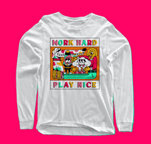 Load image into Gallery viewer, Work Hard - Play Nice long-sleeve white t-shirt with original design from Crocodile Jackson.
