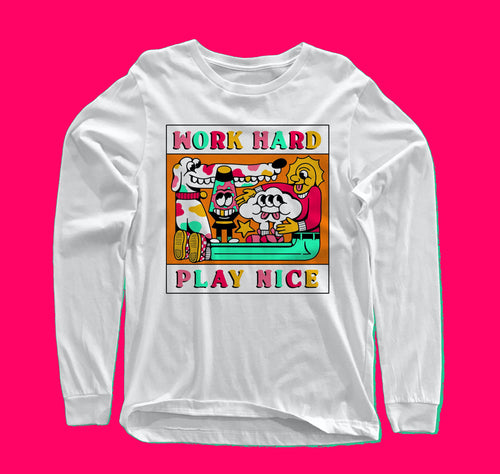 Work Hard - Play Nice long-sleeve white t-shirt with original design from Crocodile Jackson.