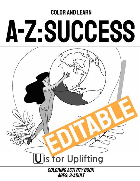 Google Slides A-Z of Success Coloring Book (Customizable and Commercial Usage) - Side Hustle Market