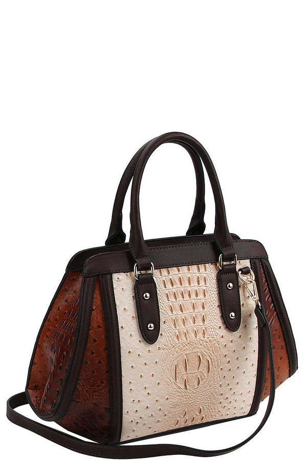 2in1 Two Tone Croco Pattern Satchel With Matching Wallet demochatbot