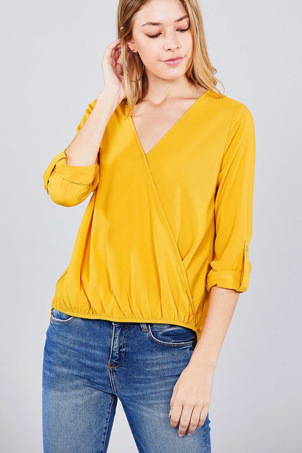 3/4 roll up sleeve v-neck w/surplice woven top demochatbot
