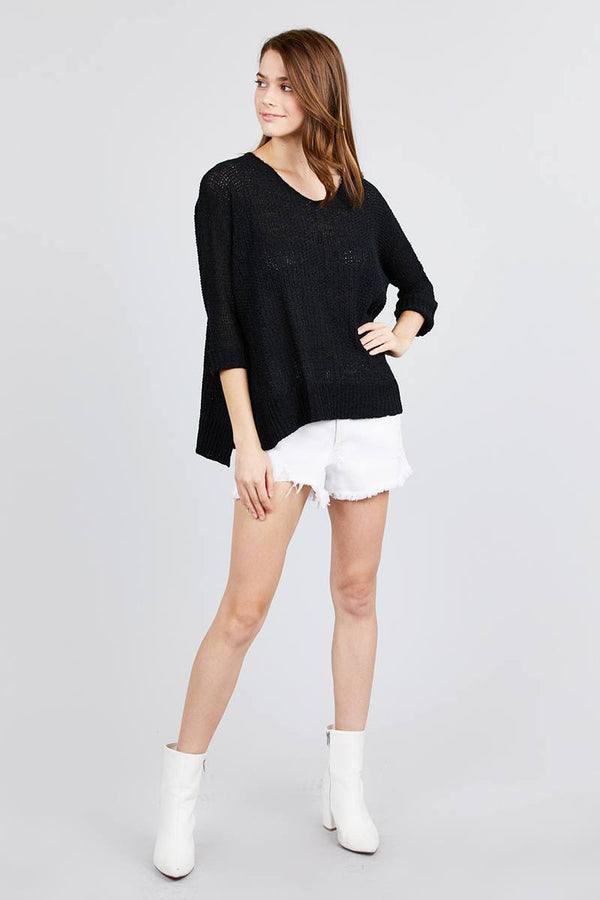 3/4 Sleeve Side Slits Fish Net Sweater Top demochatbot