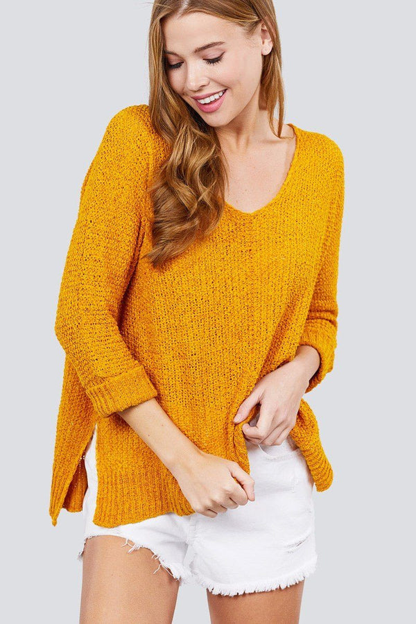 3/4 Sleeve Side Slits Fish Net Sweater Top demochatbot Mustard S