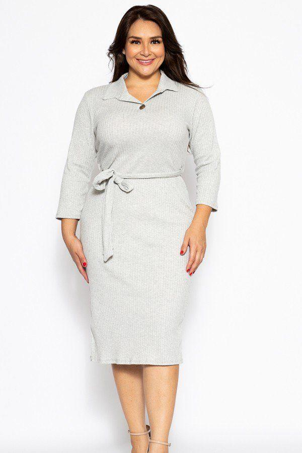 A Pleated Solid, Midi Tee Dress demochatbot Heather Grey 1XL
